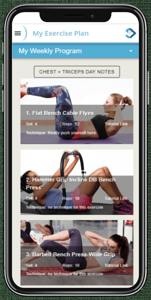 My Exercise Plan Screen