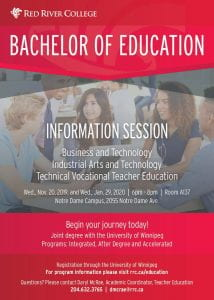 Poster for Bachelor of Education Info Session