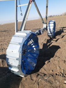 Bolted wheel on irrigation equipment