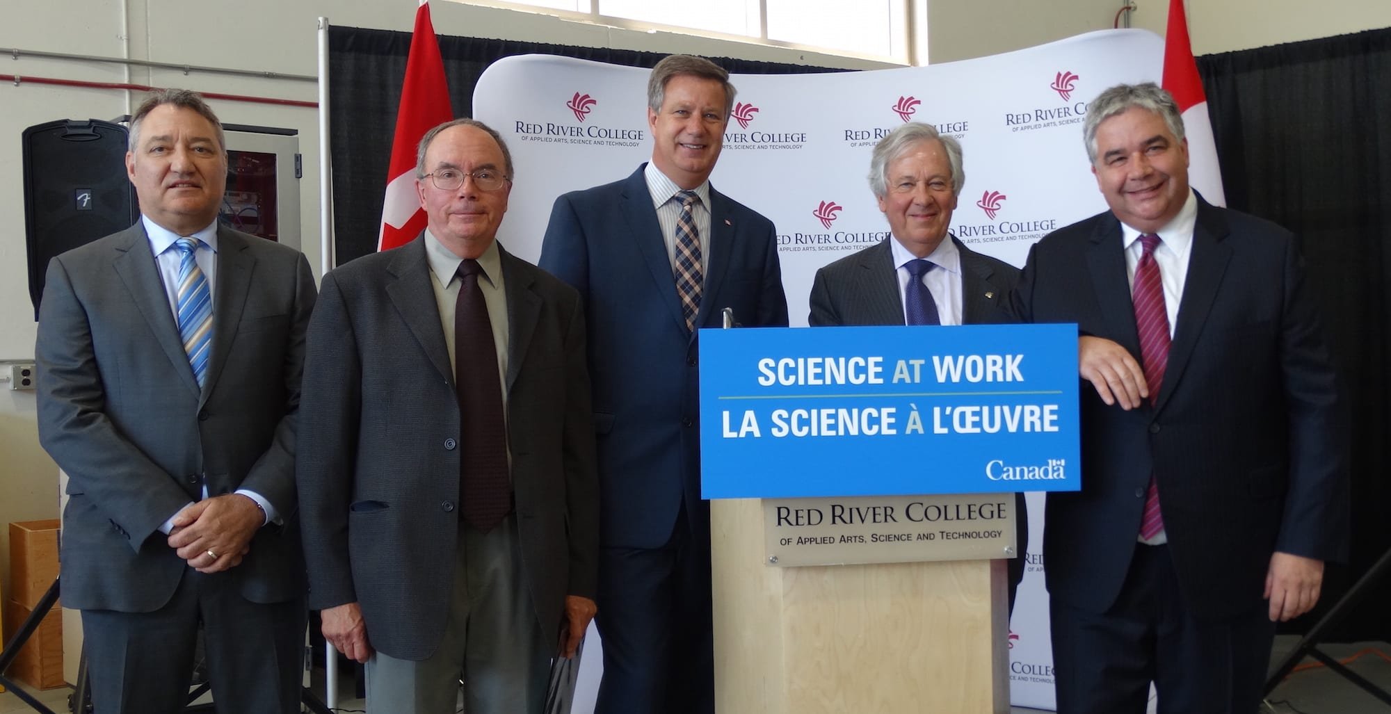 (L-R): Rick Marshall, Bird Construction; David Stones, CBEP Advisory Board Chair; Lawrence Toet, MP for Elmwood-Transona; David Rew, interim President of Red River College; Hon. Peter Van Loan, Leader of the Government in the House of Commons.
