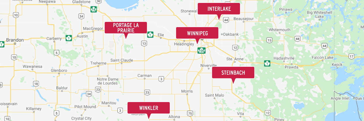 Location of Red River College Polytechnic campuses offering custom and contract training