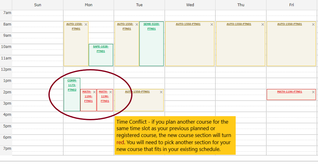 Review your student schedule to see if you planned another course for the same time slot as your previously planned or registered courses. If courses conflict then the new course will turn red. You will need to pick another section for your new course that fits in your existing schedule.