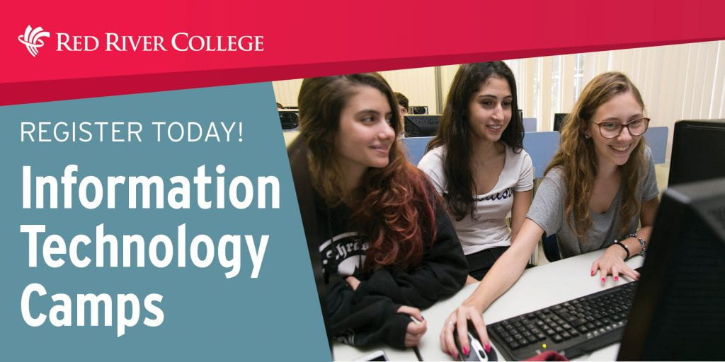 Banner image with three students working together while sharing a computer screen. Banner text reads: Register Today - Information Technology Camps
