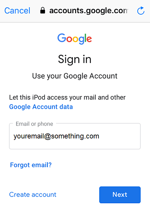 enter your gmail address then tap next