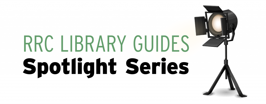 Picture of spotlight on stand. Text: RRC Library Guides - Spotlight series