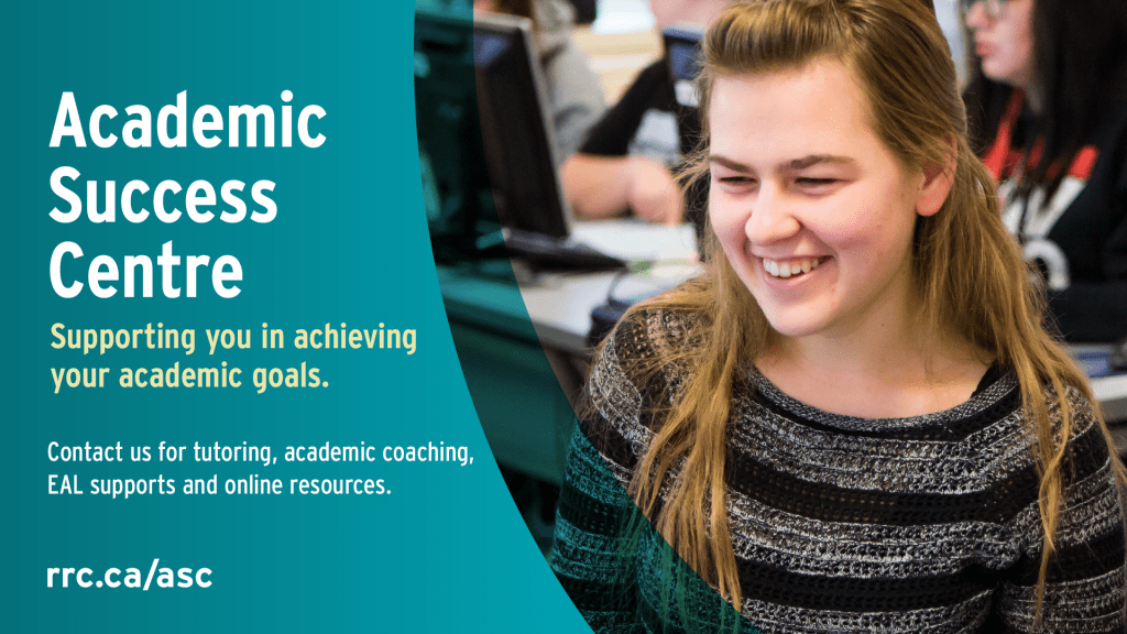 Female students with a big smile. Text: Academic Success Centre