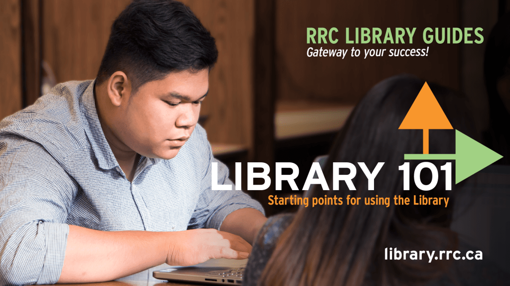 Student working in the Library. Text says: Library 101 - Starting points for using the Library