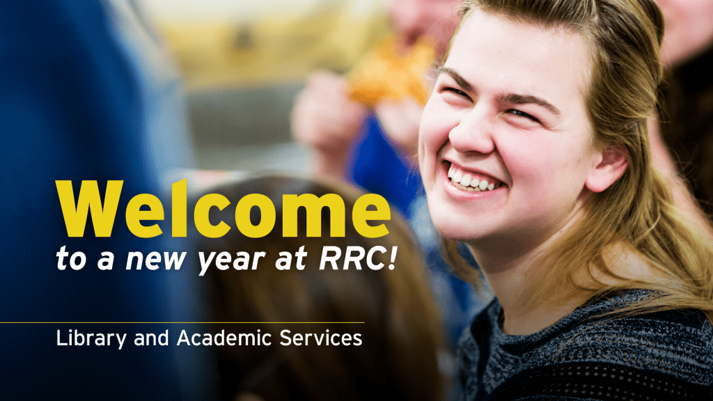 Smiling student looking up. Embedded text: Welcome to a new year at RRC Polytech!