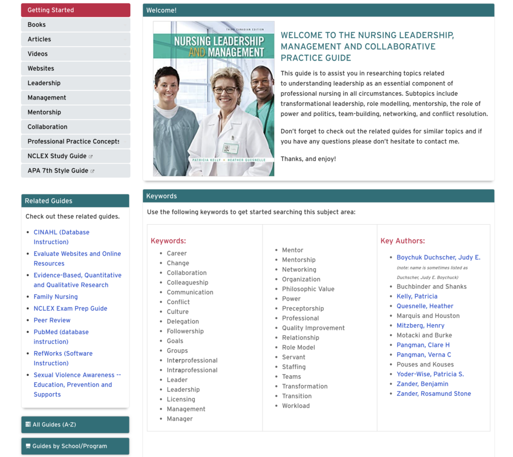 Screenshot of Nursing Leadership Guide