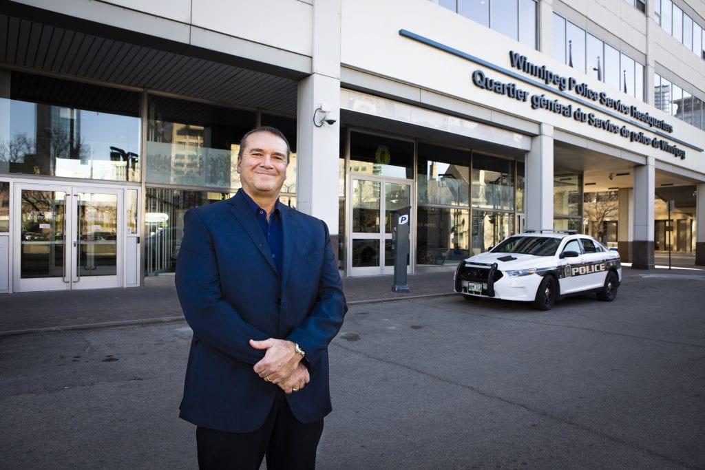 RRC instructor Bob Chrismas, outside Winnipeg Police Service headquarters