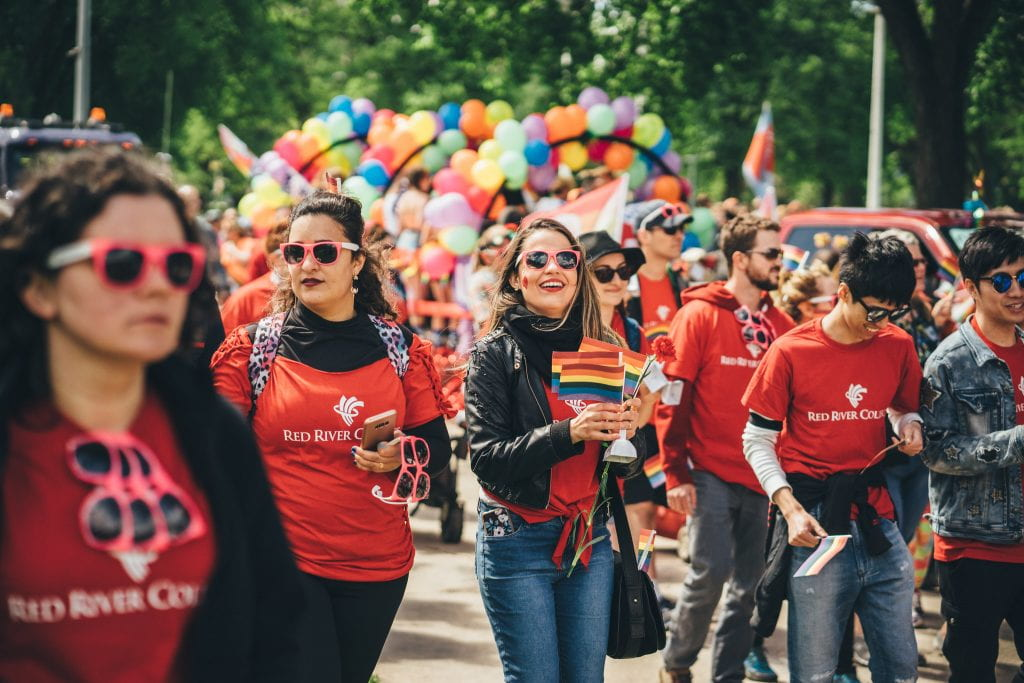 RRC staff and students, 2018 Pride Winnipeg parade