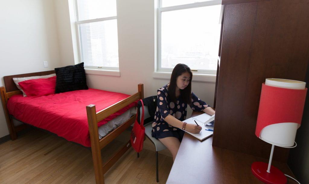 Student working at desk in bedroom