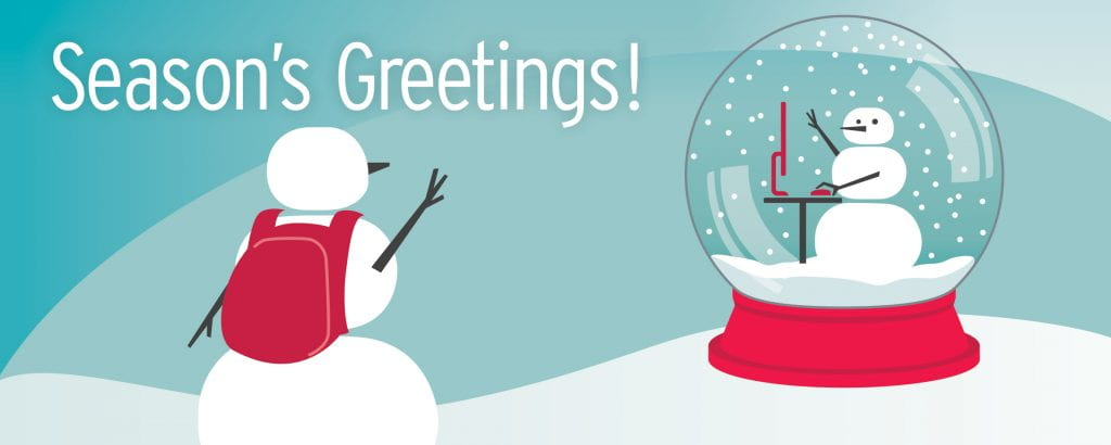 Snowman wishing season's greetings to second snowman in snowglobe
