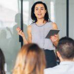 Woman teaching a workshop