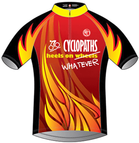 """A red jersey with yellow and orange flames with the words """"Cyclopaths - heels on (wheels is crossed out) whatever"""""""