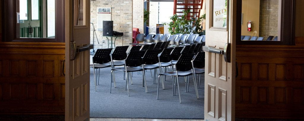 Chairs set up in the Roblin Centre