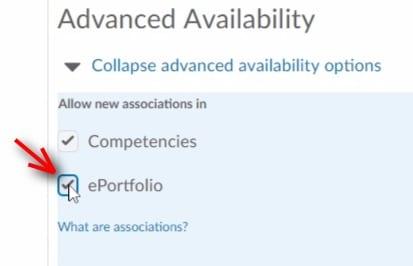 Selecting e-portfolio option in advanced availability