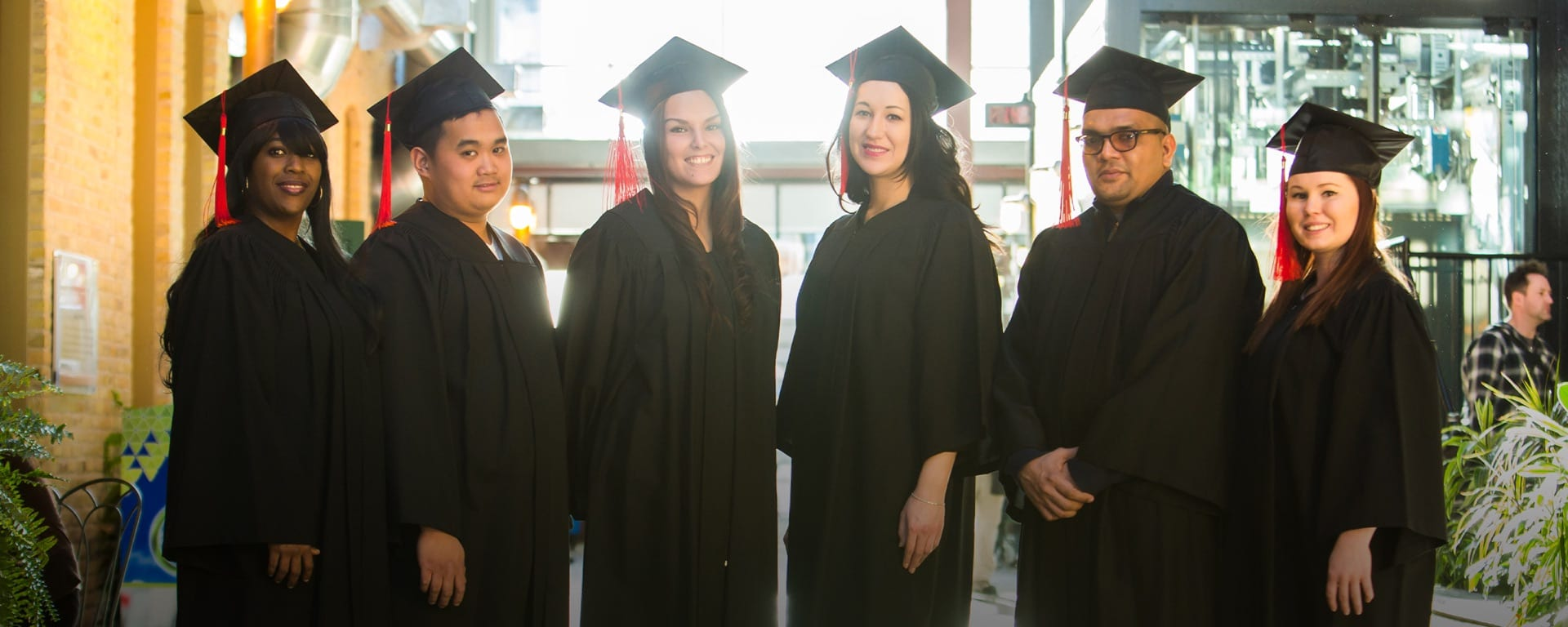 Students in convocation gowns