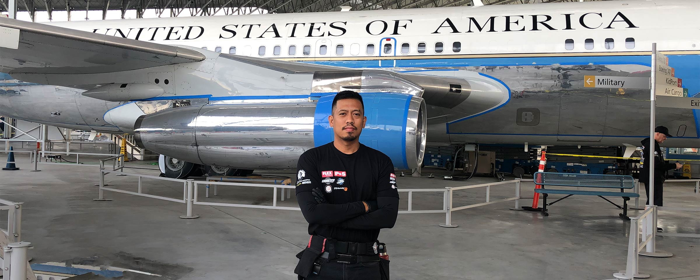Crisanto Aquino in front of Air Force One