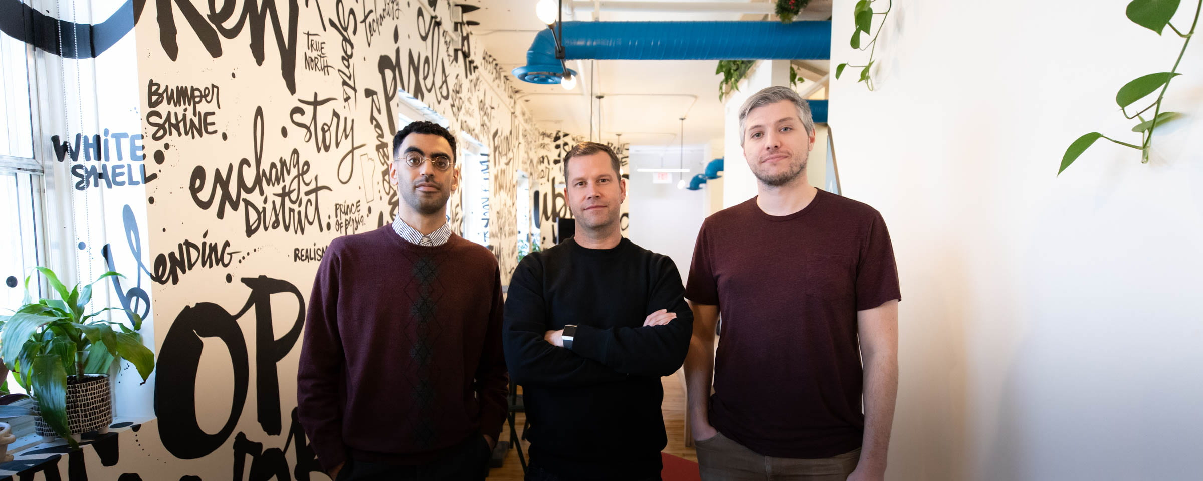Ubisoft Winnipeg employees Ibrahim Shahin, Kent Wilson and Spencer Marr