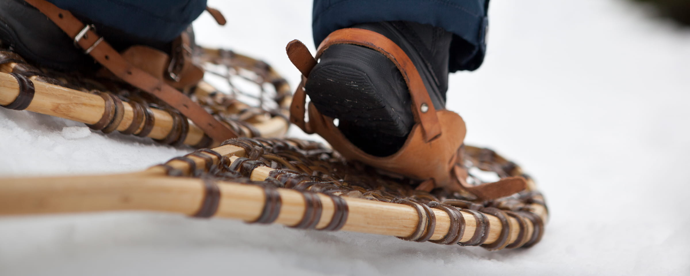 Closeup of snowshoes on snow