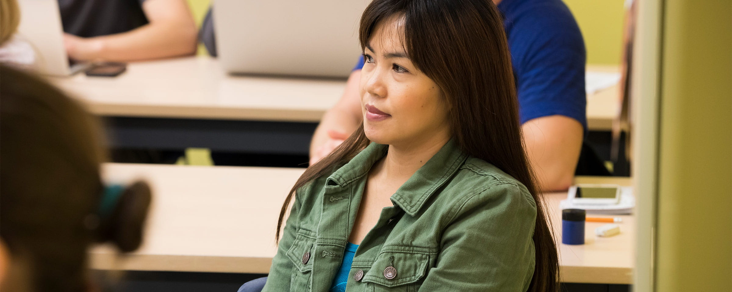 Female student in Steinbach Campus classroom