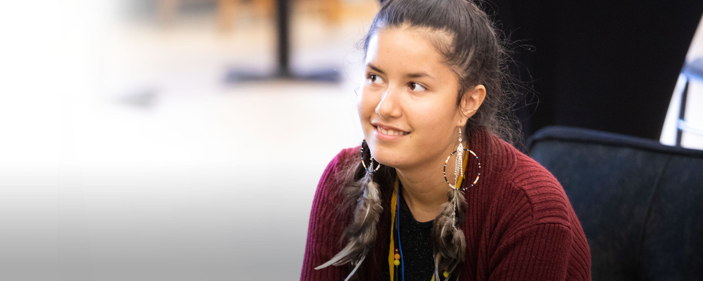 Young Indigenous woman in classroom