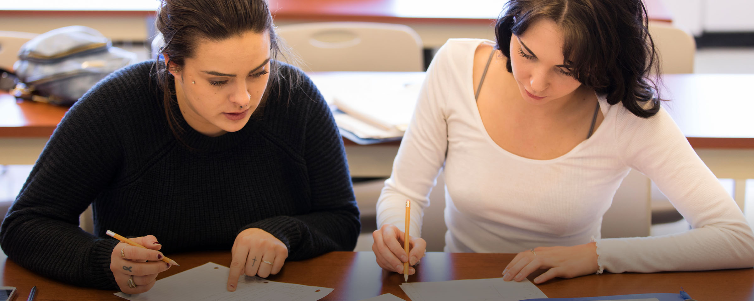 Female students working in classroom