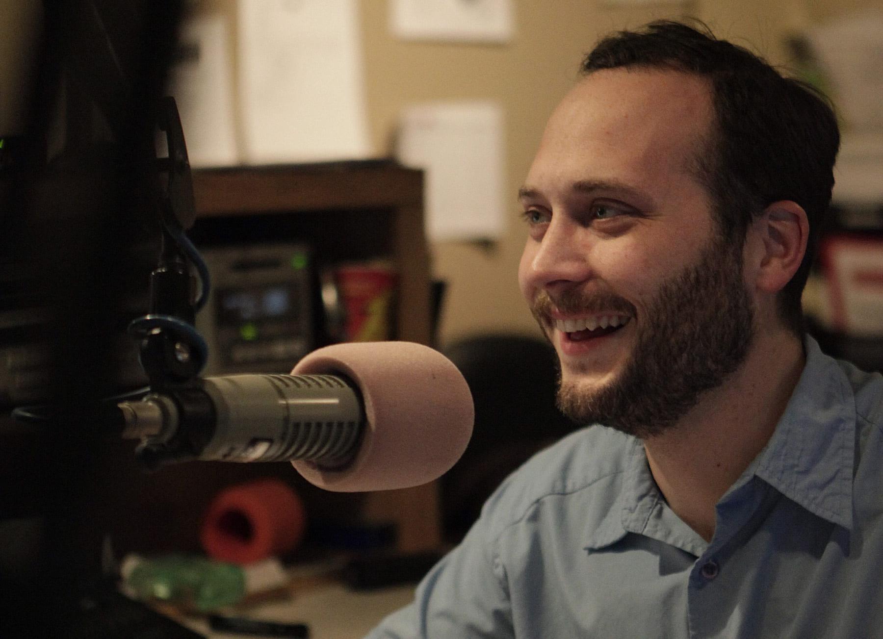 Casey Norman in radio studio