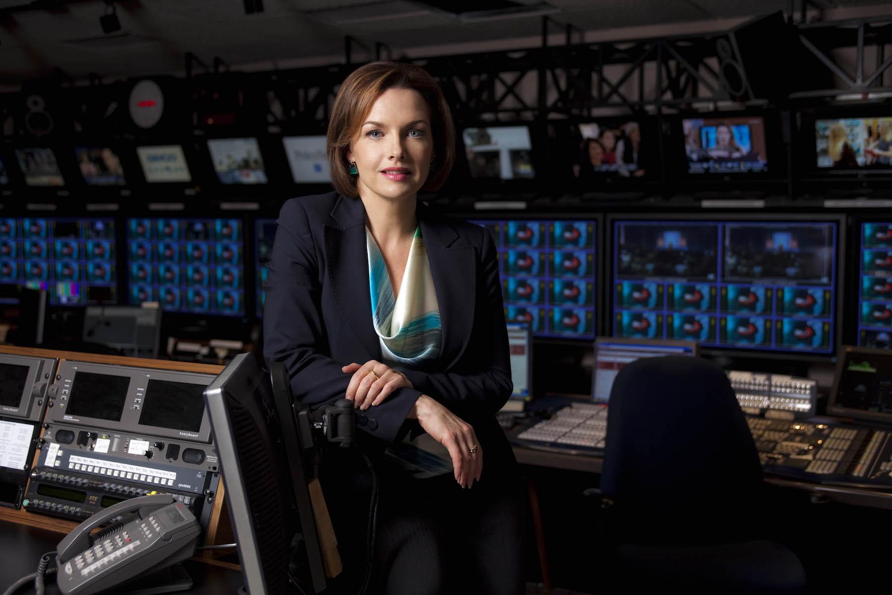 Dawna Friesen in TV news studio