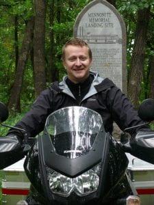 Cam Dueck on motorbike