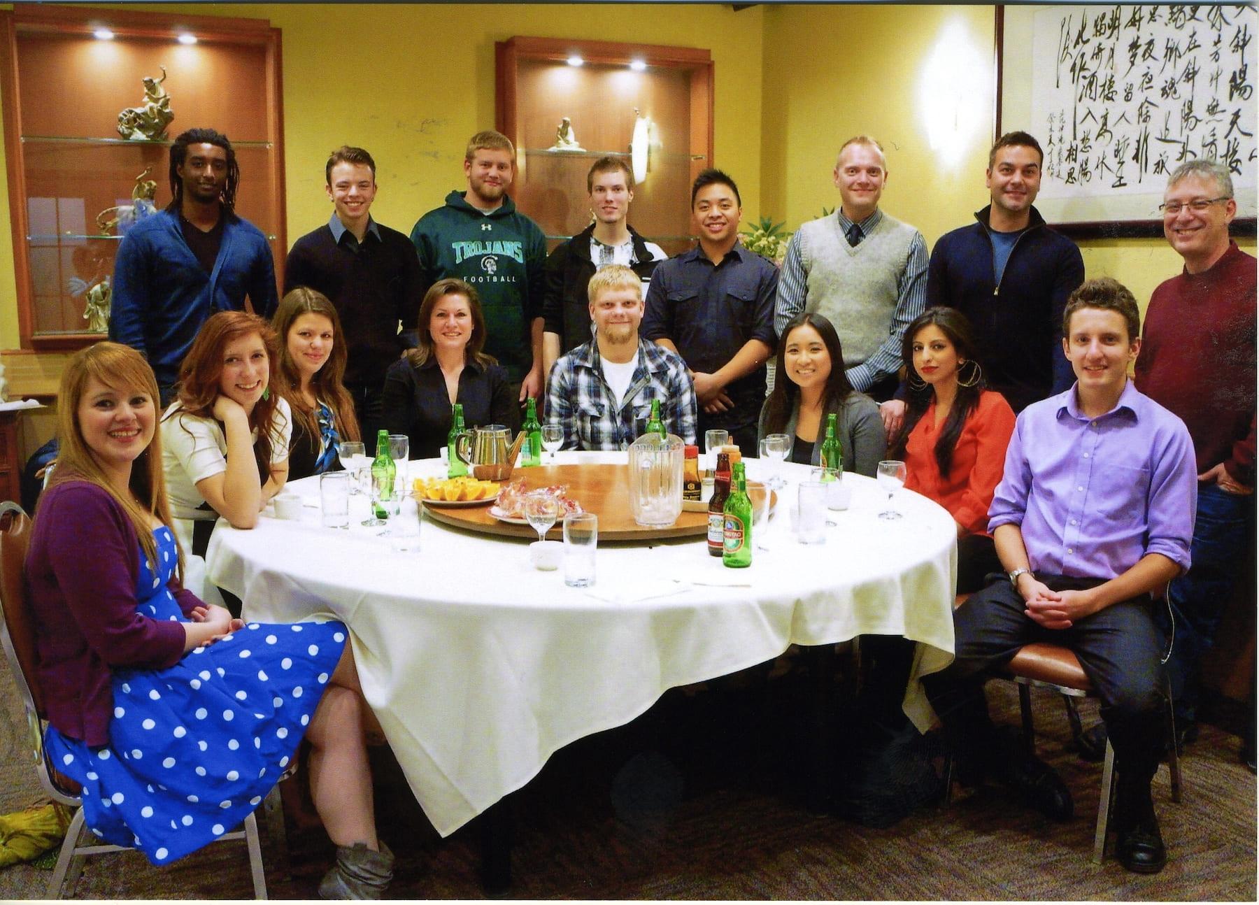 Bob Tallman with RRC students, 2012 Alumni Dinner