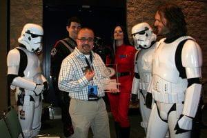 Pablo Hidalgo with Star Wars stormtroopers