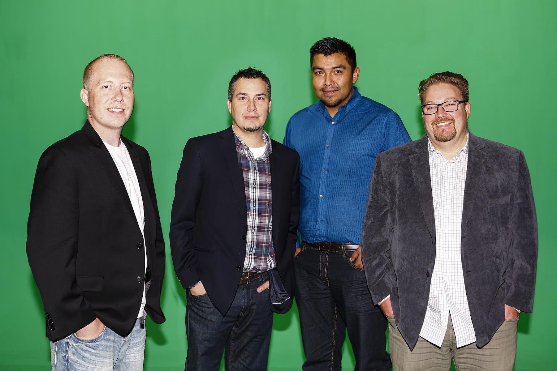 Kirk Mann (left), with Modern Clan colleagues and fellow RRC grads Derek McCorrister, Dwayne Bird and Correy Myco.