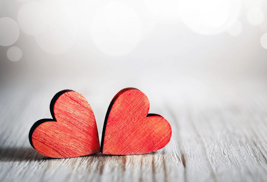 Pair of red wooden hearts