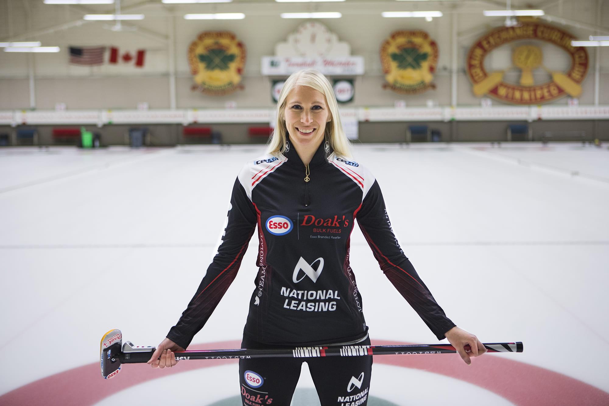 Raunora Westcott at curling rink