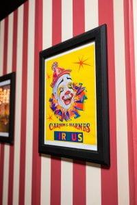 Closeup of framed circus advertisement