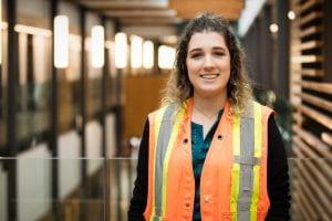 Red River College graduate Allison Enns in construction vest