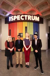 Red River College Students' Association executive, outside The Spectrum
