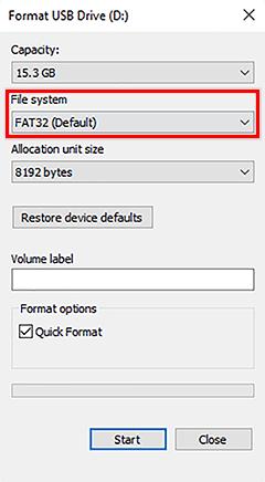 format usb drive window