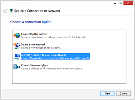 Set Up a Connection or Network window