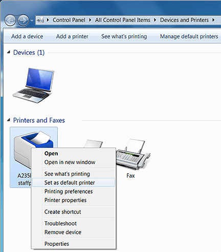 Connect to a printer in Windows 7 : Red River College: Information