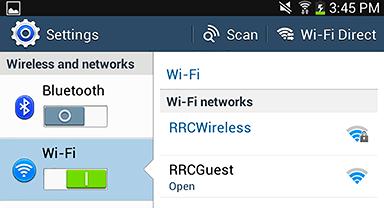 Wi‑Fi and RRCWireless menus