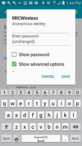 Show advanced options check box