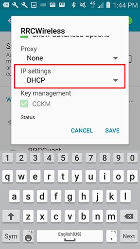 IP settings – DHCP