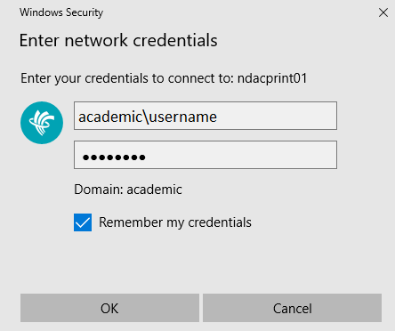 college username and password