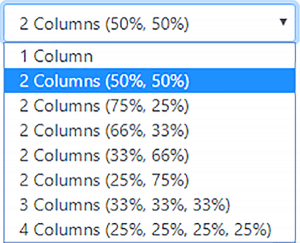 columns drop-down menu