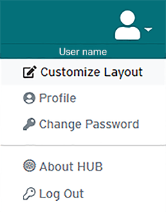 HUB user drop-down menu