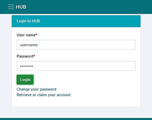 HUB log on page