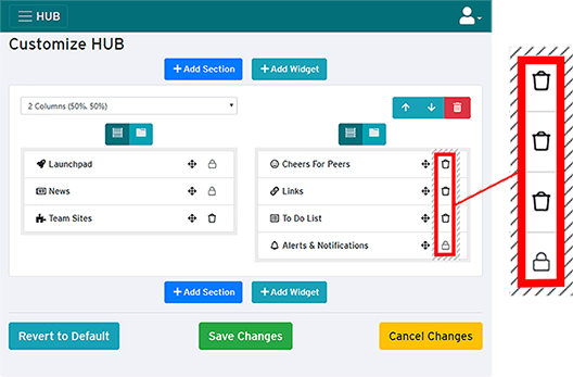 remove and lock icons on customize HUB page